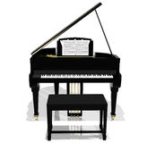 Piano magnífico negro Foto de archivo