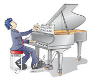 Piano man. Man playing a melody on the piano Royalty Free Stock Images