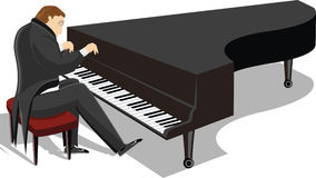 Piano man illustration Stock Photography
