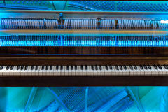 Piano mechanism through the transparent cover Royalty Free Stock Photos