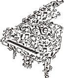 Piano med anmärkningar över vit Arkivbilder
