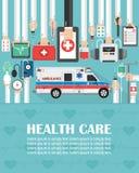 Piano medico online di progettazione con l'ambulanza il lorem ipsum ? semplicemente tex illustrazione vettoriale