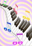 Piano and music. Piano keys are floating in the air Royalty Free Stock Photos