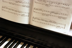 Piano Music. Abstract of piano and music sheets Stock Photography