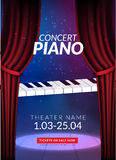 Piano music concert background. Musical illustration poster. Vector classical instrument sound concept Stock Images