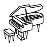 Piano music instrument icon and vector illustration royalty free illustration