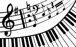 Piano music. Musical notes and piano. It is a black and white vector. EPS10 Royalty Free Stock Image