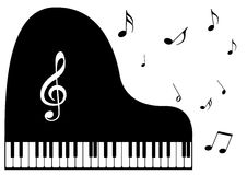 A piano and music notes. Illustration of a piano and music notes Royalty Free Stock Photo