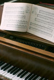 Piano with music notes. Antique Piano with music notes book wide open Stock Photography