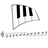 Piano with music notes icon illustration Stock Photos