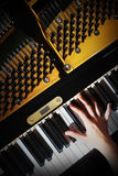 Grand piano hands playing Stock Image
