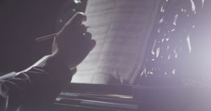 Piano music pianist hands playing. Musical instrument grand piano details stock footage