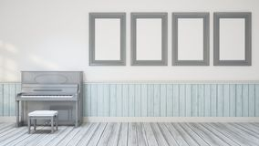 Piano in music room / wall decoration - 3D Illustration Royalty Free Stock Image