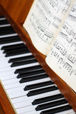 Piano and music sheets. Sheet music focused, set on brown piano with keyboard Royalty Free Stock Photography