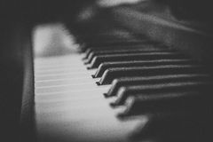 Piano. Musical instrument. bw, grayscale.  Sometimes the music is urgently needed Royalty Free Stock Photography