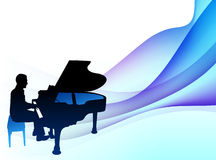 Piano  Musician on Abstract Flowing Background Royalty Free Stock Images