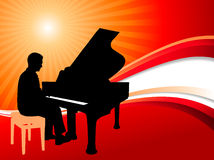 Piano Musician on Abstract Summer Background Stock Image
