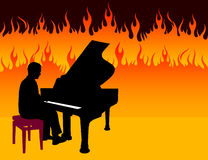 Piano Musician on Fire Background Stock Photos
