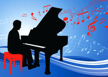 Piano Musician on Musical Note Background Royalty Free Stock Image