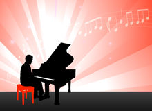Piano Musician on Red Background with Notes Royalty Free Stock Photos
