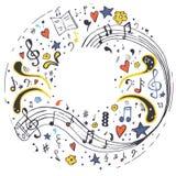 piano musik anm?rkning tecknad hand royaltyfri bild