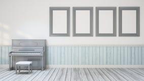 Piano in muziekruimte/muurdecoratie - 3D Illustratie Royalty-vrije Stock Afbeelding