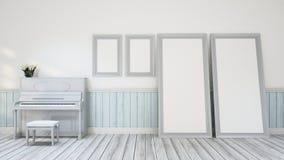 Piano na decoração da parede da sala da música - ilustração 3D Fotos de Stock Royalty Free