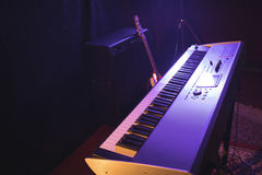 Piano in nightclub. High angle view of piano in nightclub Royalty Free Stock Images
