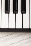 Piano and notes. Closeup photo above view royalty free stock photography