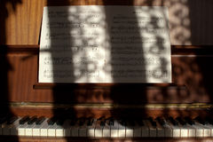 Piano and notes Stock Images
