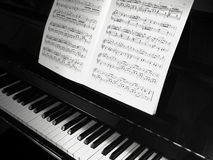 Piano & Notes. Piano with note sheet royalty free stock photo