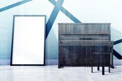 Piano och en tonad affisch Fotografering för Bildbyråer