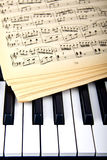 Piano och gamla musikanmärkningar Royaltyfria Foton