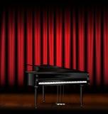Piano och röd förhänge Royaltyfria Foton