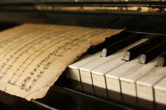 Piano and old notes Royalty Free Stock Photography
