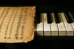 Piano and old notes Stock Photo