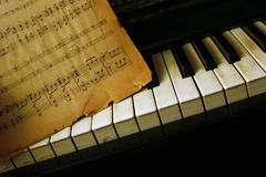 Piano and old notes Stock Photos