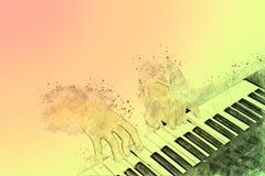 Piano op Waterverf het schilderen achtergrond en Digitale illustratie royalty-vrije stock afbeelding