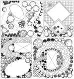 Piano paesistico del od delle collezioni con i simboli della cima d'albero royalty illustrazione gratis