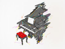 Piano Painting Vector Art. Vector Art Royalty Free Stock Images