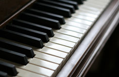 Piano Peace. A closeup of the keys of a piano, shot with shallow depth of field Stock Photography