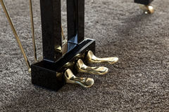 Piano pedals. Close up detail Royalty Free Stock Photography