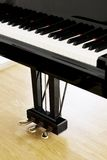 Piano pedals. From an upright view at a concert hall Royalty Free Stock Photography