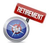 Piano pensionistico e bussola, concetto di affari Fotografia Stock Libera da Diritti