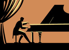 Piano. The picture shows a male pianist performing a piece of music at the concert hall. Vector image Stock Images