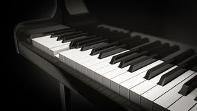 Piano play. Close up of a pressed piano key Royalty Free Stock Photo
