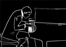 Pianist plays the piano. Vector. Piano player silhouette. Classical music illustration. White contour on black background. Hand drawn sketch vector illustration