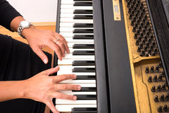 Piano players hand Stock Photo