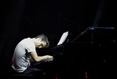 Piano Pop Zade Dirani plays piano at Bahrain Royalty Free Stock Photo