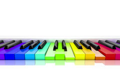 Piano with rainbow colored keys background Stock Photo